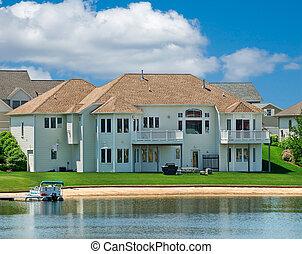 luxo, lakeside, verão, lar