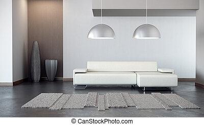luxo, lounge, sala, 3d, render