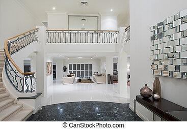 luxo, mansão, corredor
