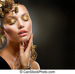 luxo, menina, moda, makeup., retrato, dourado