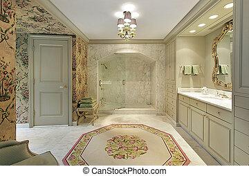 luxo, mestre, banho, com, mármore, chuveiro