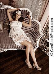 luxo, moda, interior, mulher