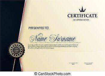 luxo, modelo, certificado, diploma, ilustração, vetorial, padrão