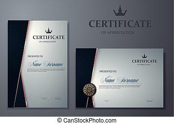 luxo, modelo, certificado, diploma, modernos, ilustração, vetorial, padrão