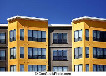luxo, modernos, apartamentos, (condo)