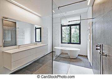 luxo, modernos, banheiro