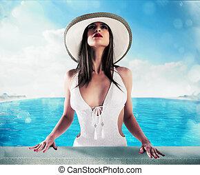 luxo, mulher, em, piscina