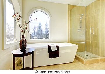 luxo, natural, clássicas, bathroom., novo