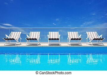 luxo, piscina, natação