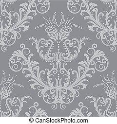 luxo, prata, floral, papel parede