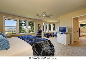 luxo, quarto, interior, em, cremoso, tons