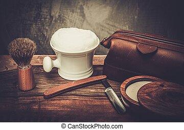 luxo, raspar, fundo, madeira, acessórios