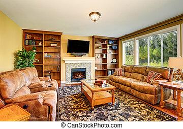 luxo, sala, livro, sofá, vivendo, set., caso