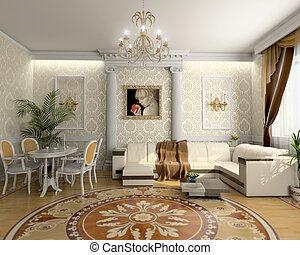 luxo, sala, vivendo