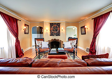 luxo, sala, vivendo, interior