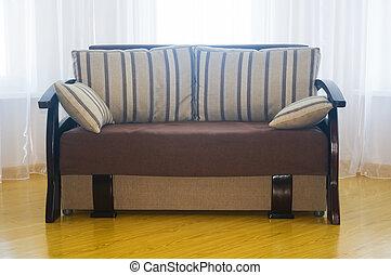 luxo, sentando, projetado, sofá, creme, sala