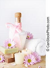 luxo, shampoo, em, cor-de-rosa