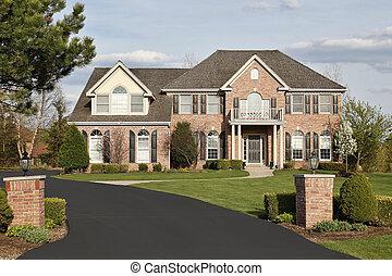 luxo, tijolo, lar, subúrbios