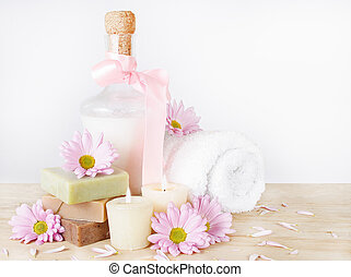 luxo, toiletries, com, flores, e, velas