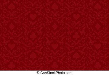 luxo, vermelho, pôquer, fundo, com, cartão, símbolos