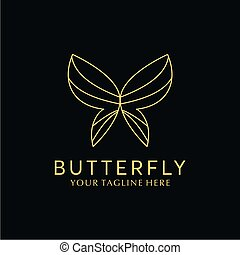 luxo, vetorial, borboleta, simples, logotipo