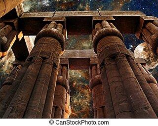 luxor寺廟, 月亮, 以及, 狼蛛星云, (elements, ......的, 這, 圖像