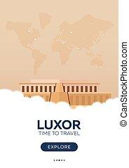 luxor., 平ら, poster., illustration., 旅行, travel., egypt., ベクトル, 時間