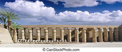 luxor, panorama, egypt., karnak, complex, tempel