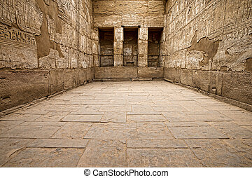 Luxor - Egyptian hieroglyphic carvings in a chamber at the...
