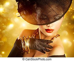 luxuös, kvinna, över, helgdag, guldgul fond