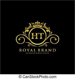 luxuös, logo, brännmärka, template., initial, ht, brev