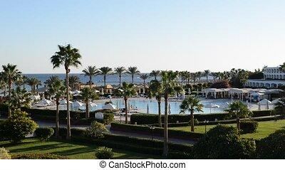 luxu, plage, piscine, natation