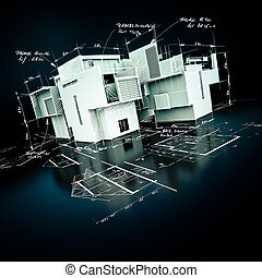 luxueus, architectuur, plan