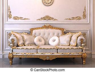 luxueus, lederene sofa, met, hoofdkussens, in, koninklijk, interieur