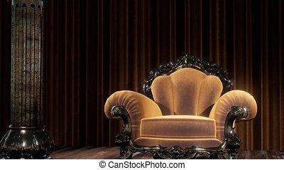luxueux, chaise, théâtre, rideau, étape