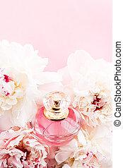 luxueux, fleurs, pivoine, annonce, fond, chic, parfum, ...