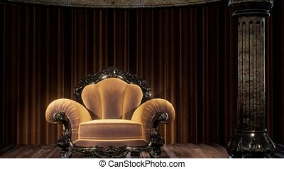 luxueux, rideau étape, chaise, théâtre
