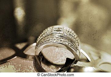 luxuoso, anel casamento