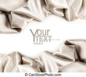 luxuoso, cetim, tecido, branco