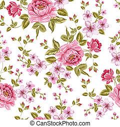 luxuoso, cor, peony, pattern.