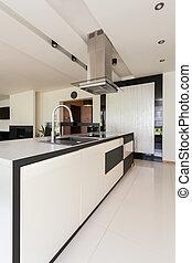 luxuoso, cozinha, em, modernos, apartamento