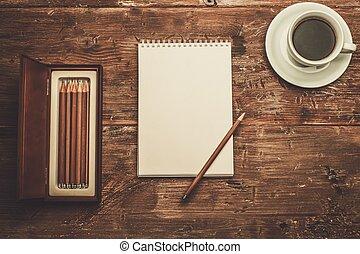 luxuoso, desenho, ferramentas, ligado, um, tabela madeira