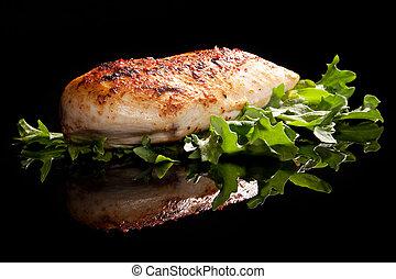 luxuoso, galinha, steak.