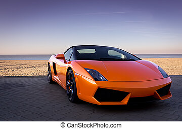 luxuoso, laranja, carro esportes, perto, praia