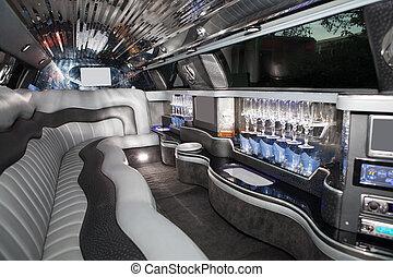 luxuoso, limusine, interior