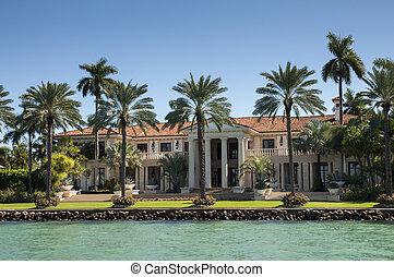 luxuoso, mansão, ligado, estrela, ilha, em, miami, flórida,...
