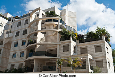 luxuoso, modernos, desenho, condomínio, apartamentos