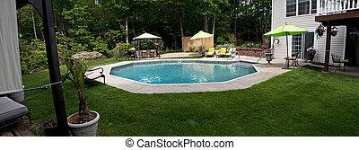 luxuoso, piscina, chão