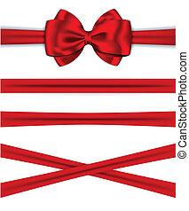 luxuoso, presentes, cartões, decorando, arco, fitas,...
