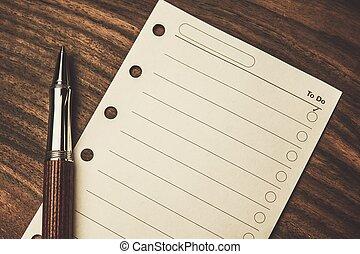luxuoso, rollerball, caneta, vazio, fazer lista